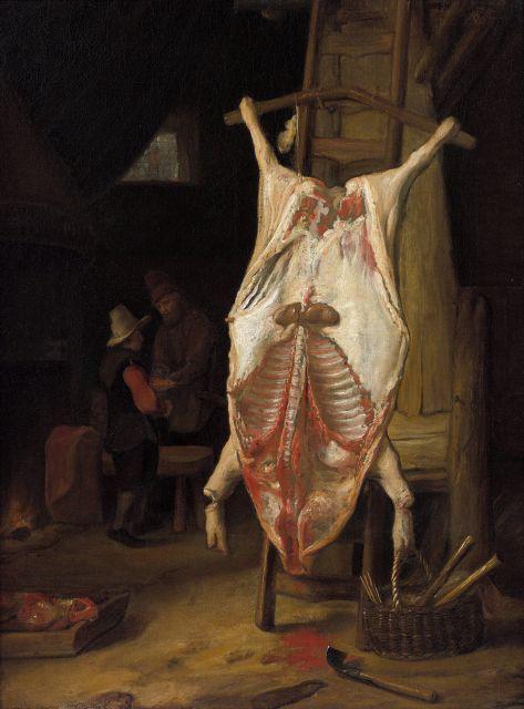 Ecole hollandaise du XVIIe siècle Intérieur de cuisine au porc écorché Huile sur toile