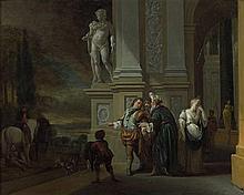 Jan Weenix Amsterdam, 1640 - 1719 Le départ du fils prodigue Huile sur toile