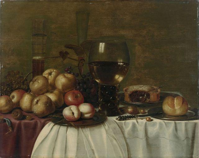 Attribué à Hans van Sant Actif à Haarlem entre 1630 et 1653 Composition aux fruits et au römer sur une nappe blanche Huile sur panne...