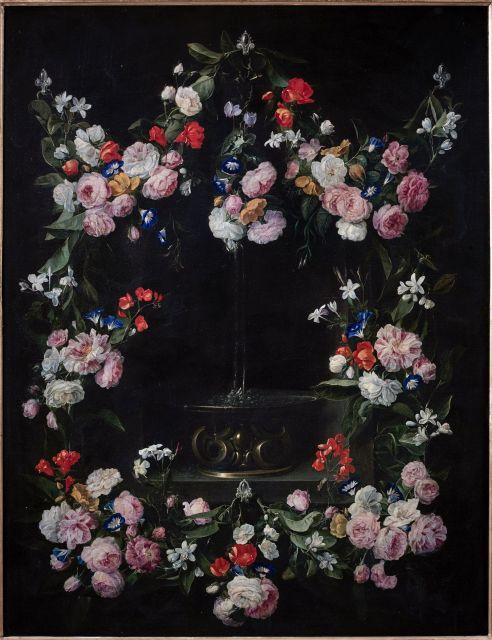 Jan van den Hecke Kwaremont, 1620 - Anvers,1684 Guirlande de fleurs entourant une fontaine Toile