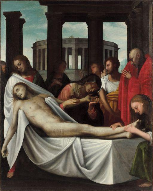 ¤ Bartolomeo Suardi, dit Bramantino et atelier Milan, vers 1465 - vers 1530 Pietà Huile sur toile
