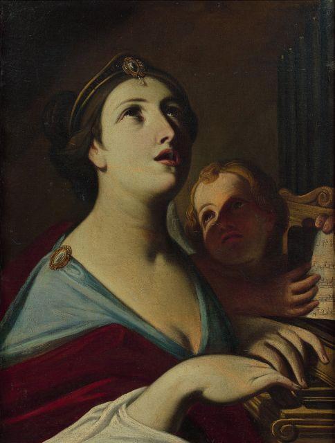 Attribué à Michele Desubleo Maubeuge, 1602 - Parme, 1676 Sainte Cécile Huile sur toile