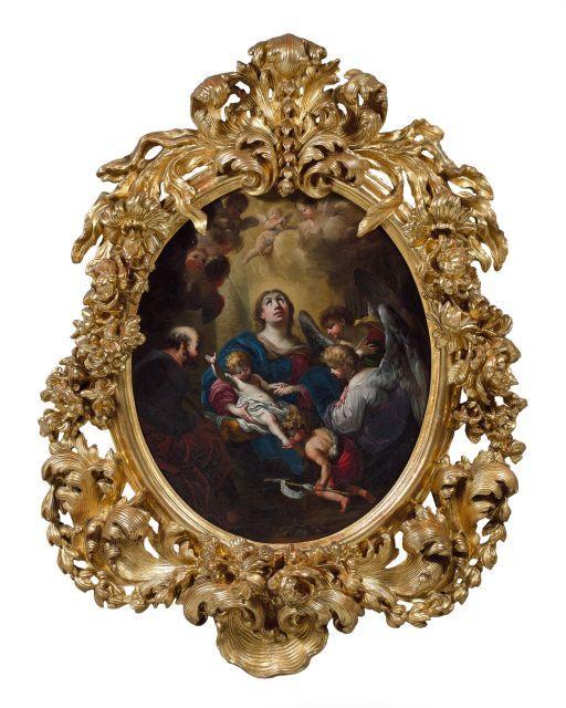 Stefano Maria Legnani, dit il Legnanino Milan, 1661 - 1713 La Sainte Famille et saint Jean-Baptiste enfant entourés d'anges Huile su..