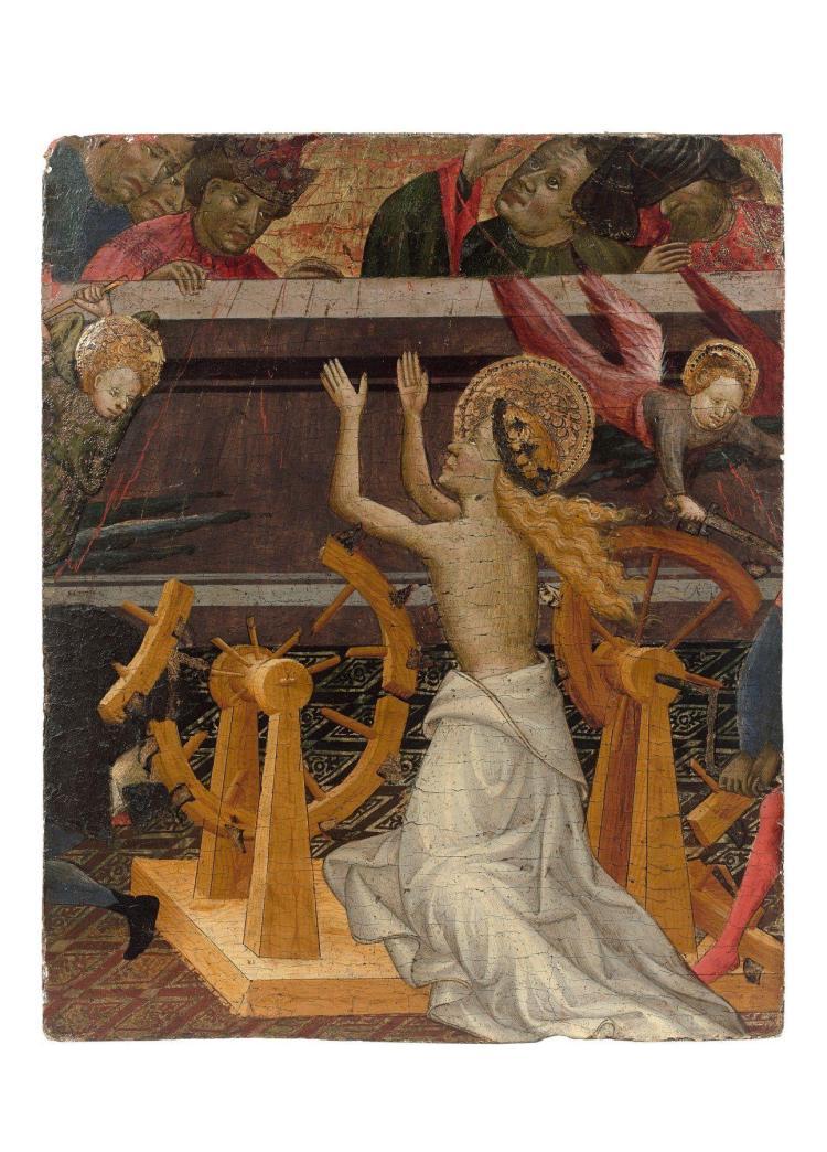 Miguel Alcañiz Documenté de 1407-1408 à 1447 à Valence, Barcelone et Majorque Le martyre de sainte Catherine d'Alexandrie Peinture à..