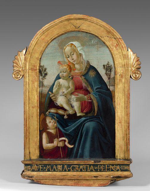 Ecole florentine de la seconde partie du XVe siècle La Vierge à l''Enfant avec le petit saint Jean-Baptiste Huile sur panneau, de fo..
