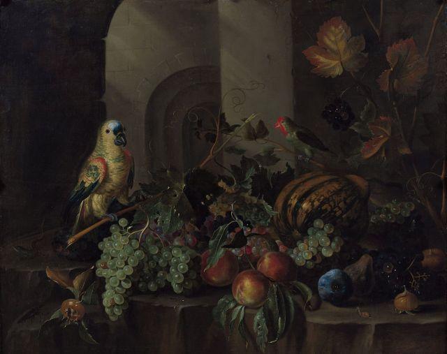 Jacob Marrel Frankenthal, vers 1613 - Francfort, 1681 Fruits et perroquets sur un entablement de pierre Huile sur toile