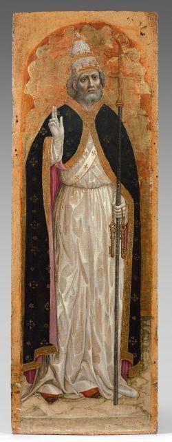 Ecole lombarde, Pavie, fin du XVe siècle Saint Pierre en Pape Panneau de retable. Peinture à l''œuf et fond d''or sur panneau de bois.