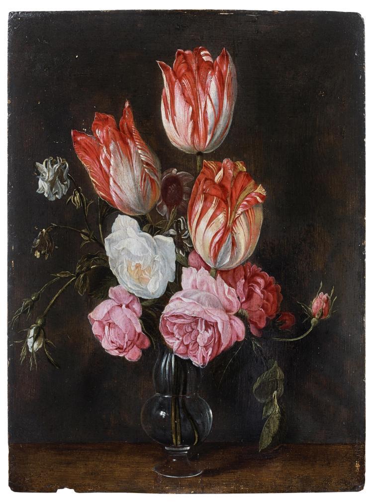 Attribué à Jan van den Hecke Kwaremont, vers 1620 - Anvers, 1684 Bouquet de tulipes et de roses dans un vase Huile sur panneau de ch...