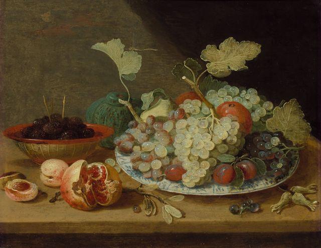 Jan van Kessel le Jeune Anvers, 1654 - Madrid, 1708 Plat de fruits et bol de mûres sur un entablement Huile sur cuivre