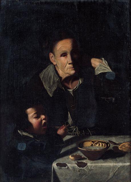 Maître de la toile de jeans Actif en Italie du Nord à la fin du XVIIe siècle Jeune garçon et vieille femme attablés Huile sur toile