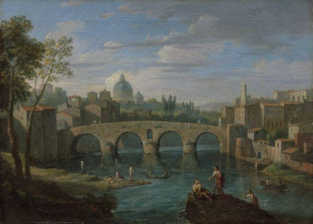 Jan Frans van Bloemen, dit l'Orizzonte Anvers, 1662 – Rome, 1749 Vue du Ponte Molle près de Rome et Vue du Ponte Sisto, Rome Paire d...