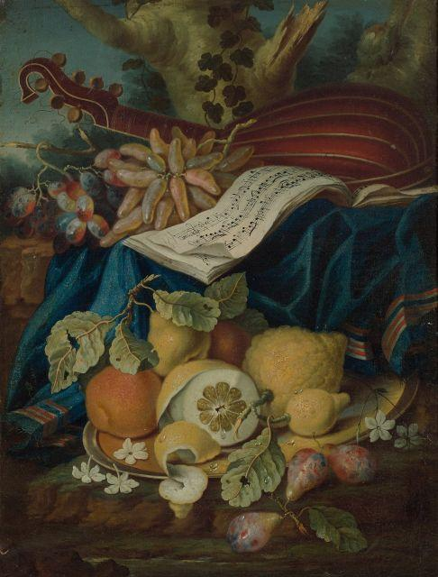 Maximilian Pfeiler Prague,1656-1746 Composition aux cédrats, à la viole et aux fruits Huile sur toile (Toile d'origine)