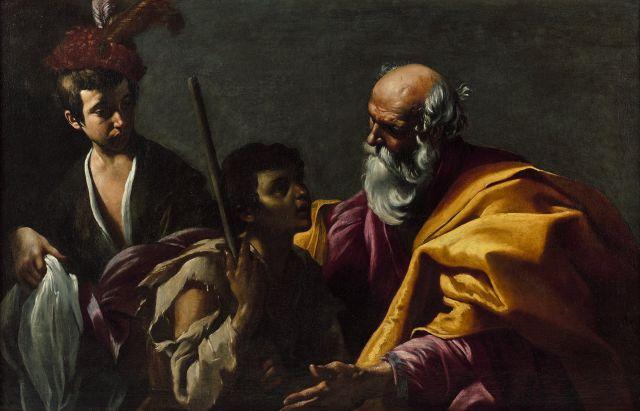 Ecole caravagesque du début du XVIIe siècle Le retour du fils prodigue Huile sur toile