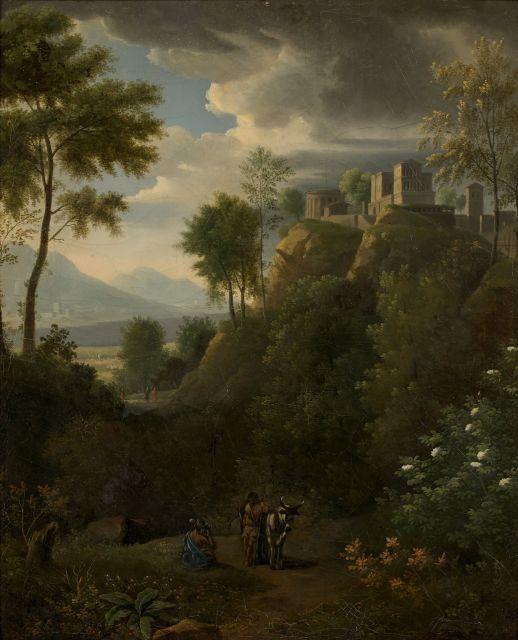 Jean-Victor Bertin Paris, 1775 - 1842 Paysage classique animé de personnages Huile sur toile