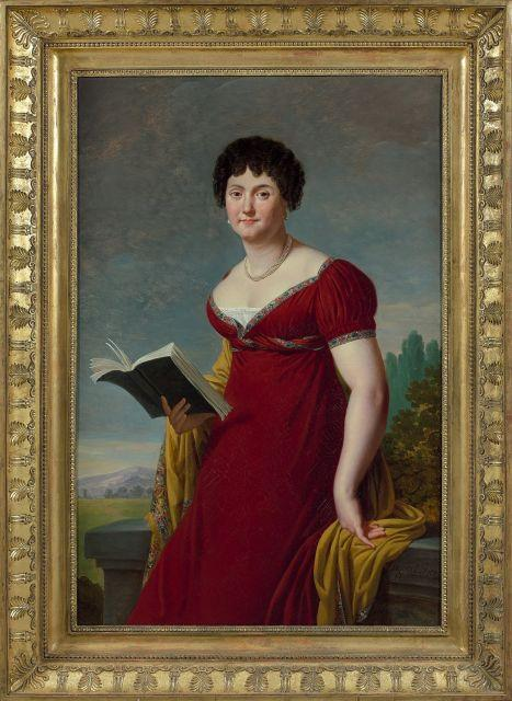 Robert Lefèvre Bayeux, 1755 - Paris, 1830 Portrait présumé de la comtesse de Mercey en robe rouge dans un paysage Huile sur toile (T...