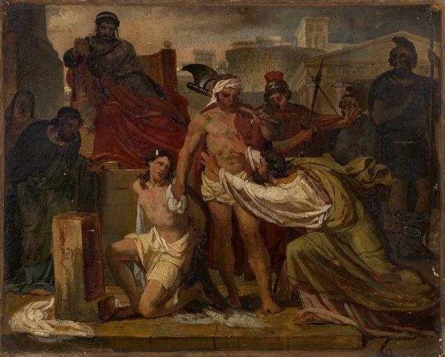 Emile Signol Paris, 1804 - Montmorency, 1892 Pythias et Damon chez Denys le tyran Huile sur papier marouflé sur toile (Châssis d''ori..