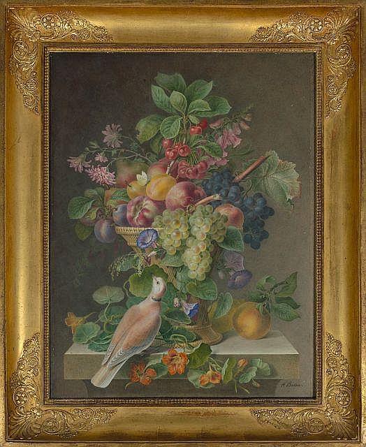 Pancrace Bessa Paris, 1772 - Ecouen, 1846 Corbeille de fruits et fleurs sur un entablement de pierre sur lequel repose une tourterel...