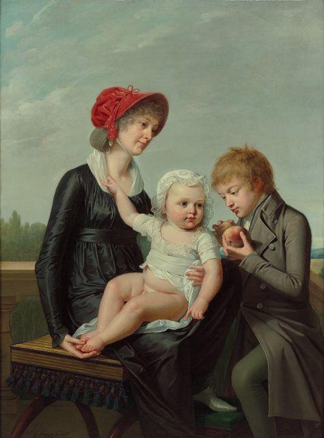 Robert Lefèvre Bayeux, 1755 - Paris, 1830 Portrait d'une femme avec ses deux enfants dans un paysage Huile sur toile