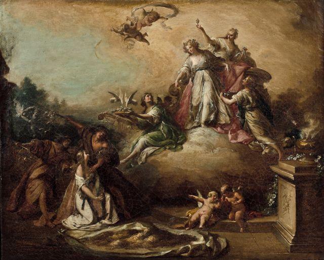 Fedele Fischetti Naples, 1732 - 1792 Vénus ordonnant à Solitude et Tristesse de punir Psyché Sur sa toile d'origine