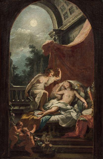 Fedele Fischetti Naples, 1732 - 1792 Psyché dévoilant Cupidon endormi Toile