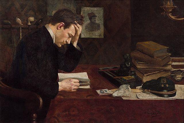 Ecole moderne (Edgard De Vos) Portrait présumé du lieutenant Dreyfus à son bureau Huile sur toile (Toile d'origine)