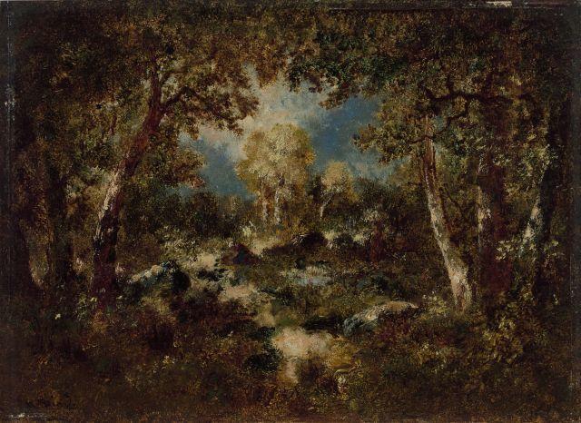 Narcisse Diaz de La Pena Bordeaux, 1807 - Menton, 1876 Fagoteuse dans un sous-bois Huile sur panneau d'acajou, une planche
