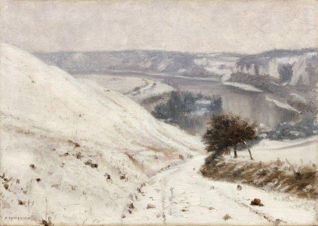 Francis Tattegrain Péronne, 1852 - Arras, 1915 Vue de la vallée de la Seine depuis le promontoir de château Gaillard aux Andelys Hui...