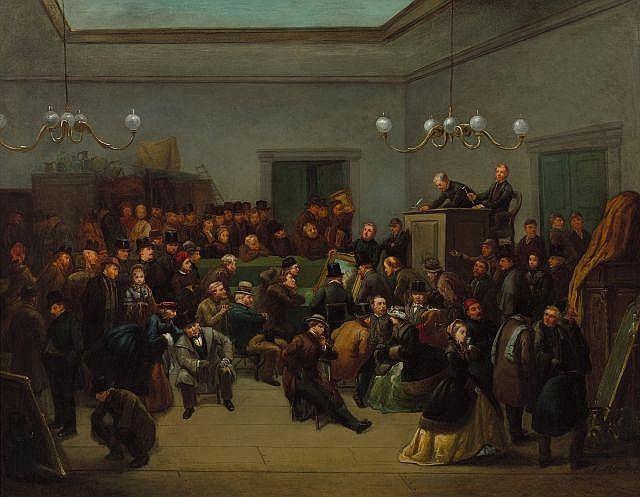 Ecole française du XIXe siècle (A. Moreaux) La vente aux enchères Huile sur toile