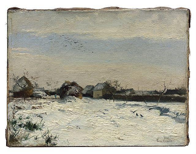 Siebe Johannes Ten Cate Sneek, 1858- Paris, 1908 Corneilles dans la neige Huile sur toile (Toile d'origine)