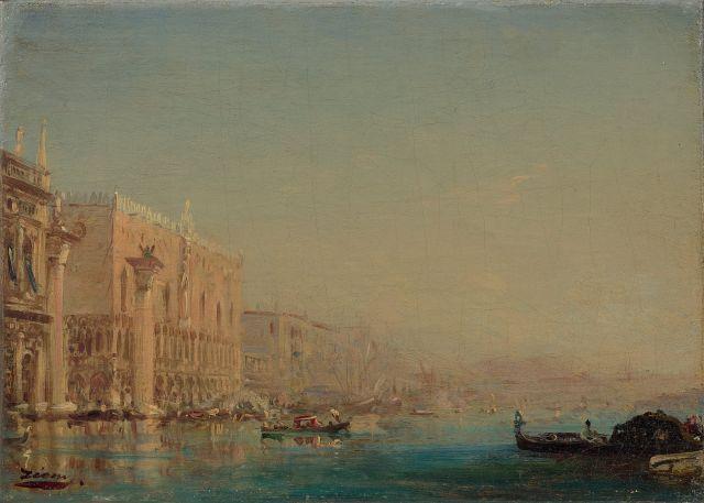 Félix Ziem Beaune, 1821 - Paris, 1911 Acqua alta à Venise, le Grand Canal et le Palais des Doges Huile sur toile