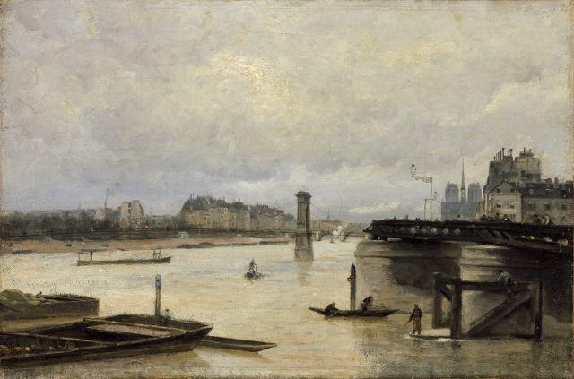 Stanislas Lépine Caen, 1835 - Paris, 1892 La Seine et Notre-Dame vues de Bercy Huile sur toile