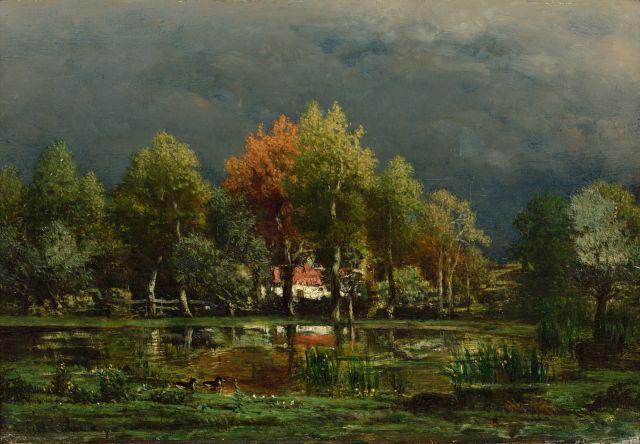 Charles Le Roux Nantes, 1814 - 1895 Maison entourée d''arbres au bord d''un étang Huile sur panneau, une planche