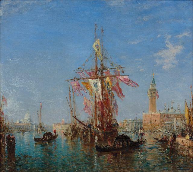 Félix Ziem Beaune, 1821 - Paris, 1911 La Fête de l'Assomption sur le Grand Canal, Venise Huile sur toile