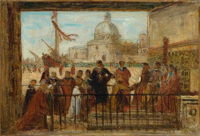 Félix Ziem Beaune, 1821 - Paris, 1911 L'arrivée des ambassadeurs anglais, d'après Vittore Carpaccio Huile sur toile