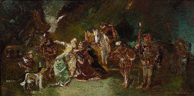 Adolphe Monticelli Marseille, 1824 -1886 La noce fantastique Huile sur panneau de noyer, une planche