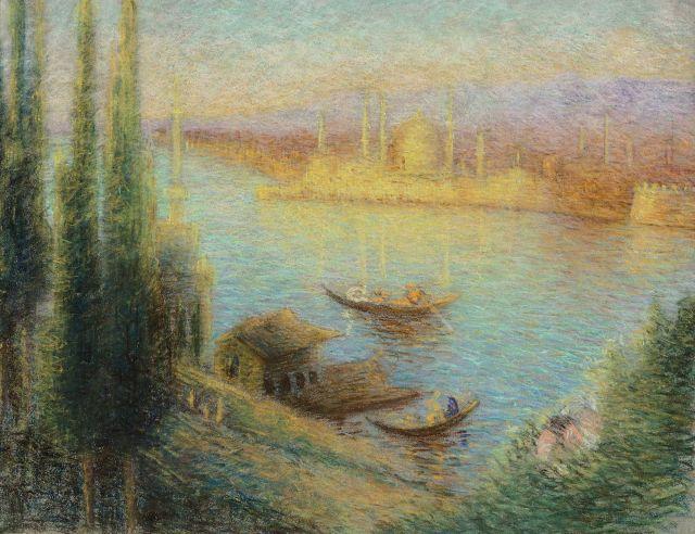 Lucien Lévy-Dhurmer Alger, 1865 - Le Vésinet, 1953 Le Bosphore avec la tour de Léandre, Istanbul Pastel