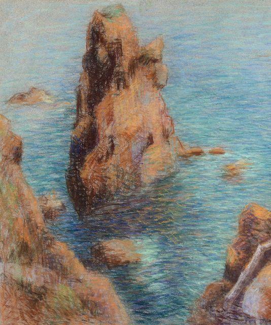 Lucien Lévy-Dhurmer Alger, 1865 - Le Vésinet, 1953 Rocher dans les calanques du Trayas à l''Esterel par beau temps Pastel