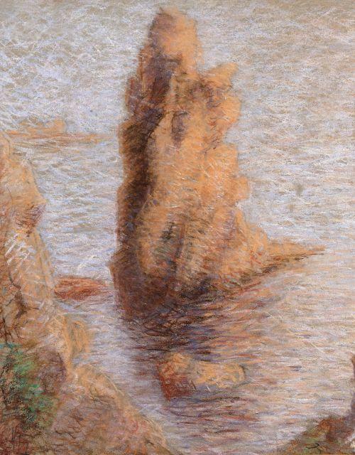 Lucien Lévy-Dhurmer Alger, 1865 - Le Vésinet, 1953 Rocher dans les calanques du Trayas à l''Esterel Pastel