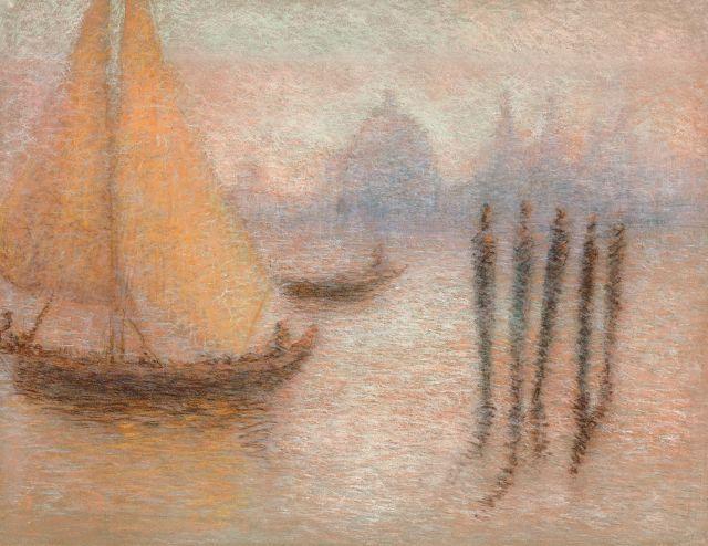 Lucien Lévy-Dhurmer Alger, 1865 - Le Vésinet, 1953 Le bassin de Saint Marc avec la Salute par temps de brume, Venise Pastel
