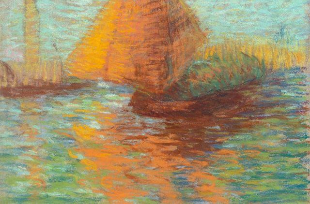 Lucien Lévy-Dhurmer Alger, 1865 - Le Vésinet, 1953 Voile orange sur la lagune, Venise Pastel