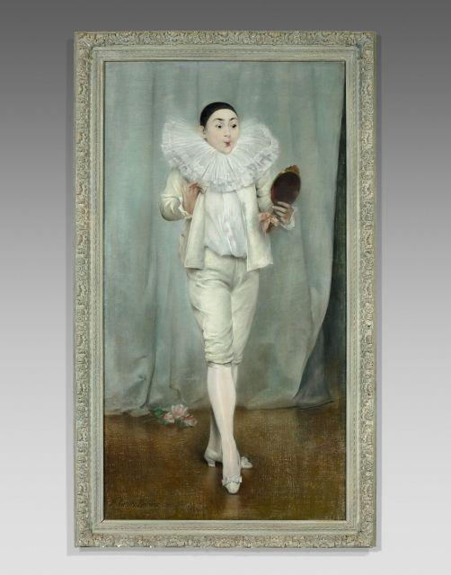 Pierre Carrier-Belleuse Paris, 1851 - 1933 Le miroir de Pierrot, Mademoiselle Litini Pastel