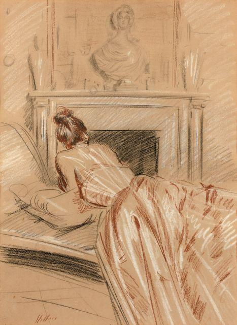 Paul-César Helleu Vannes, 1859 - Paris, 1927 Jeune femme allongée sur un sofa de dos Trois crayons