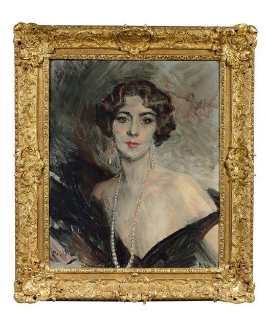 Giovanni Boldini Ferrare, 1842- Paris, 1931 Portrait de la marquise Carla Vitelleschi Huile sur toile (Toile d''origine)