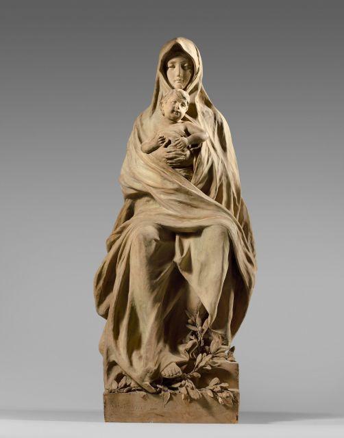Nicolo Barabino Gênes, 1832 - Florence, 1891 La Vierge à l'Enfant Terre cuite