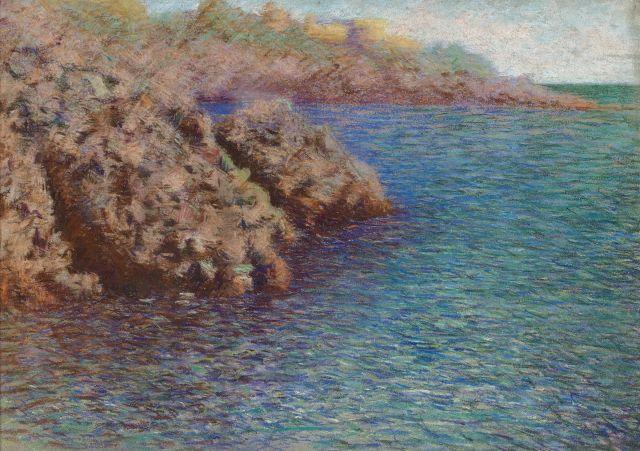 Lucien Lévy-Dhurmer Alger, 1865 - Le Vésinet, 1953 Les rochers de l''Esterel Pastel