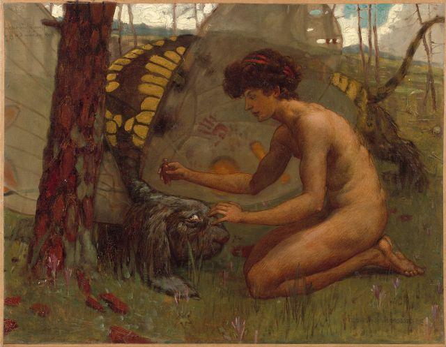 Gustav Adolf Mossa Nice, 1883 - 1971 L''Ephèbe à la Tarasque Huile sur toile