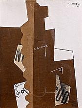 Henri LAURENS 1885 - 1954 LA BOUTEILLE DE BEAUNE - 1917 Gouache, fusain, craie et collage sur papier