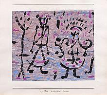 Paul KLEE 1879 - 1940 WINTERLICHE MASKEN - 1938 Gouache sur papier collé sur carton de support original de l'artiste