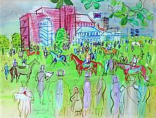 Raoul DUFY 1877 - 1953 AVANT LE DEPART, ASCOT - Circa 1936 Aquarelle, gouache et crayon sur papier