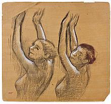 Edgar DEGAS 1834 -1917 DEUX DANSEUSES (VUES EN BUSTE, LES BRAS LEVES) Trois crayons sur papier